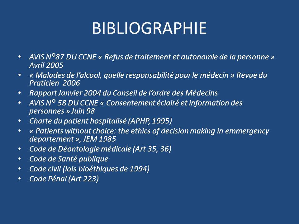 BIBLIOGRAPHIE AVIS N°87 DU CCNE « Refus de traitement et autonomie de la personne » Avril 2005.