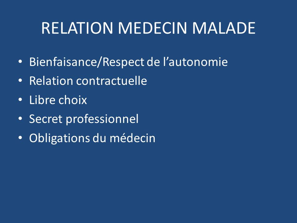 RELATION MEDECIN MALADE