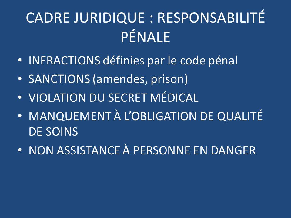 CADRE JURIDIQUE : RESPONSABILITÉ PÉNALE