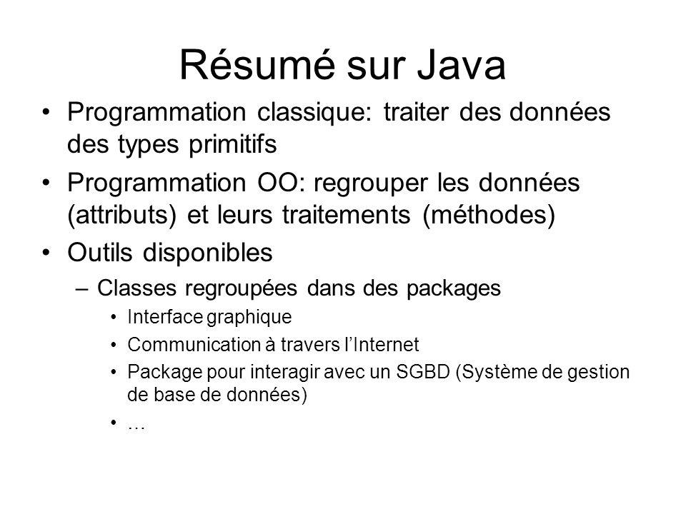 Résumé sur Java Programmation classique: traiter des données des types primitifs.