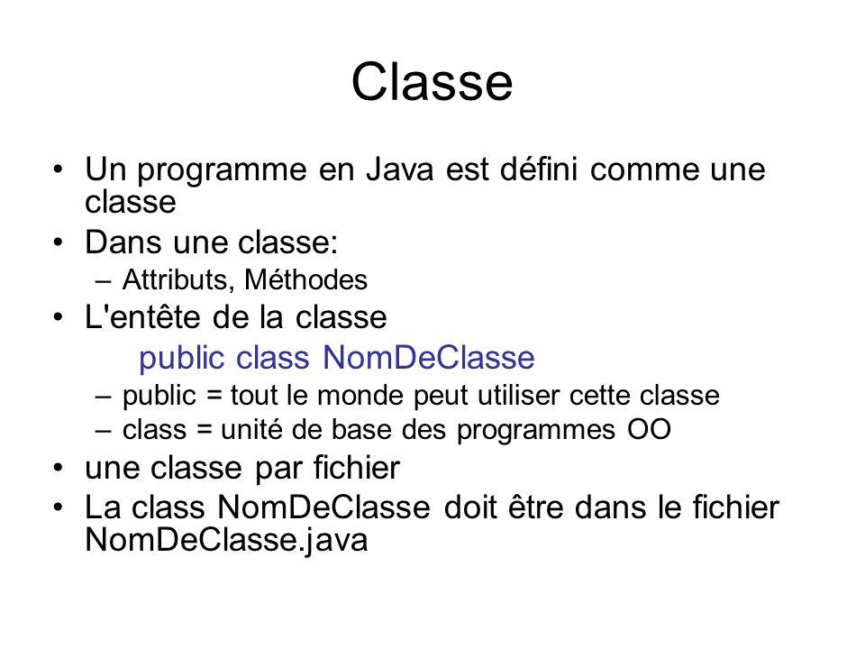 Classe Un programme en Java est défini comme une classe