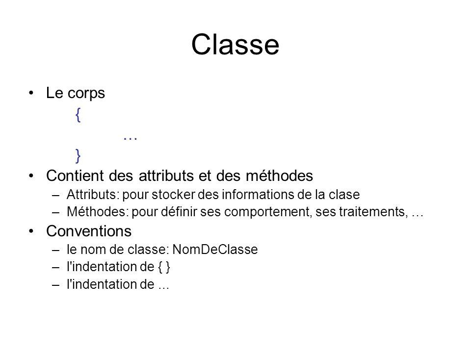 Classe Le corps { … } Contient des attributs et des méthodes