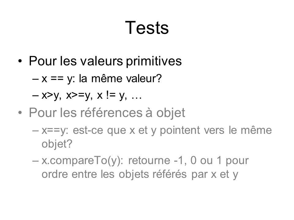 Tests Pour les valeurs primitives Pour les références à objet