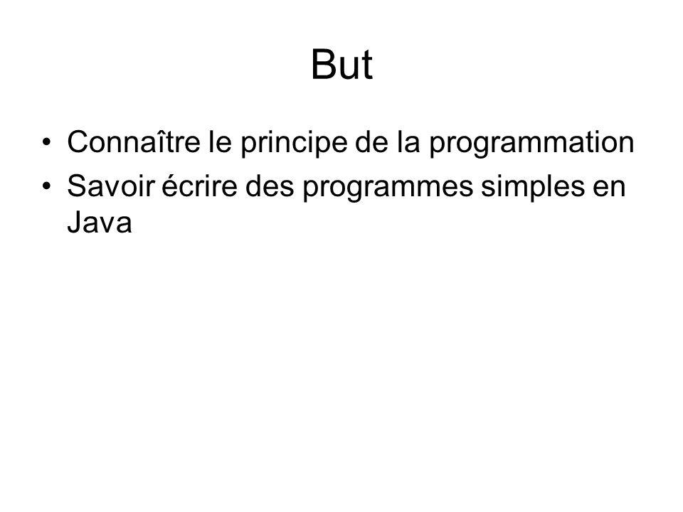 But Connaître le principe de la programmation