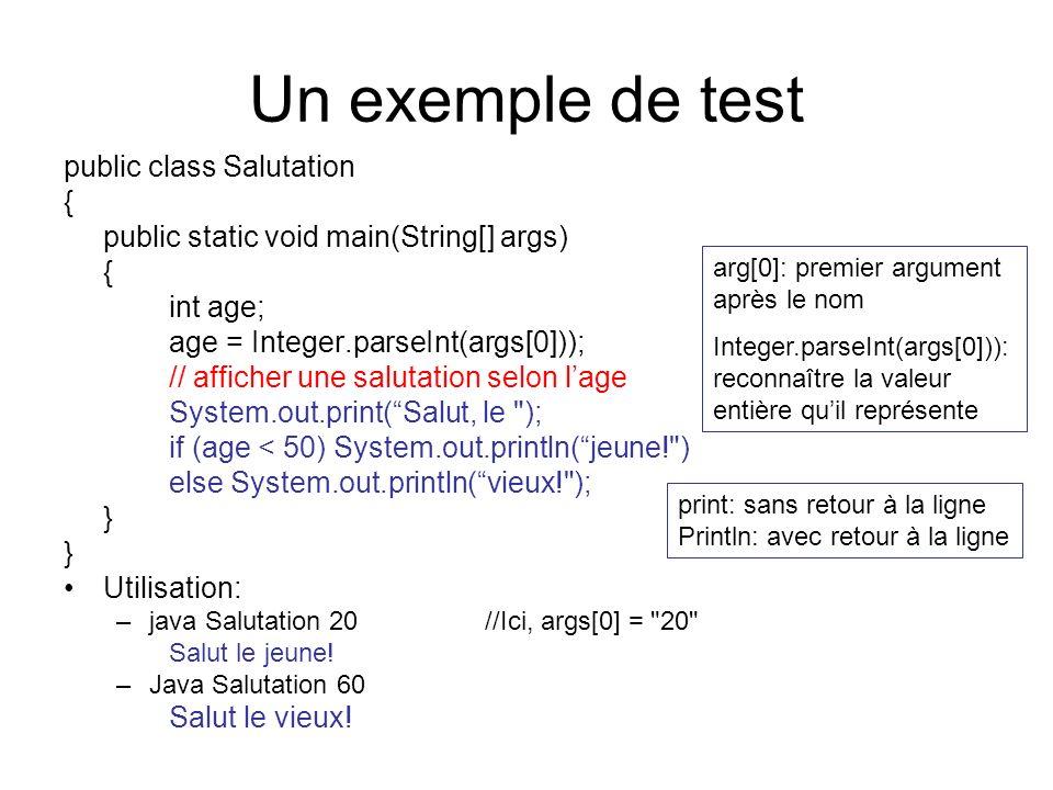 Un exemple de test public class Salutation {