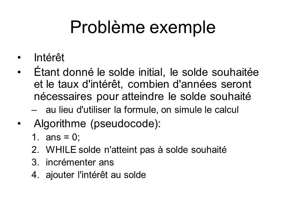 Problème exemple Intérêt