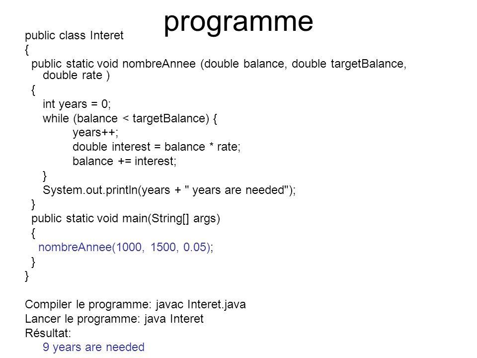 programme public class Interet {