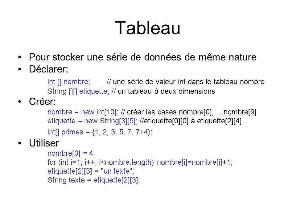 Tableau Pour stocker une série de données de même nature Déclarer: