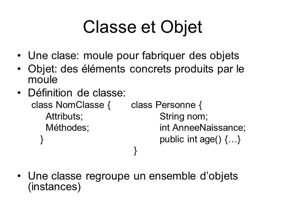 Classe et Objet Une clase: moule pour fabriquer des objets