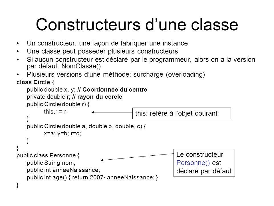 Constructeurs d'une classe