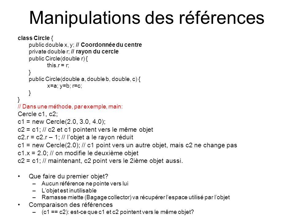 Manipulations des références