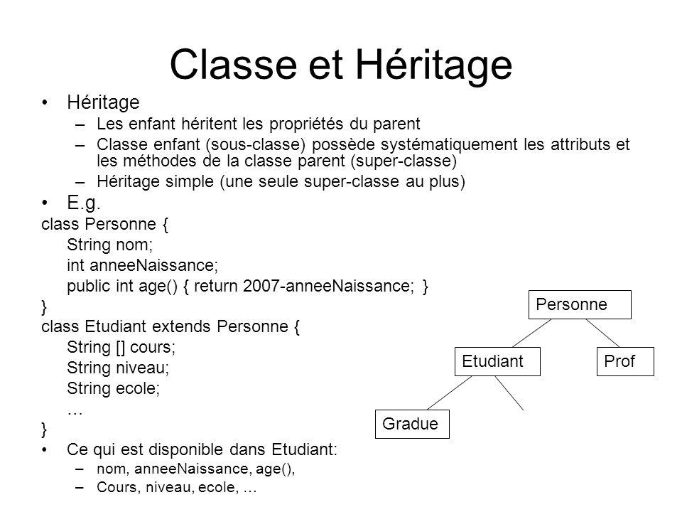 Classe et Héritage Héritage E.g.