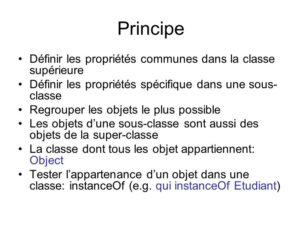 Principe Définir les propriétés communes dans la classe supérieure