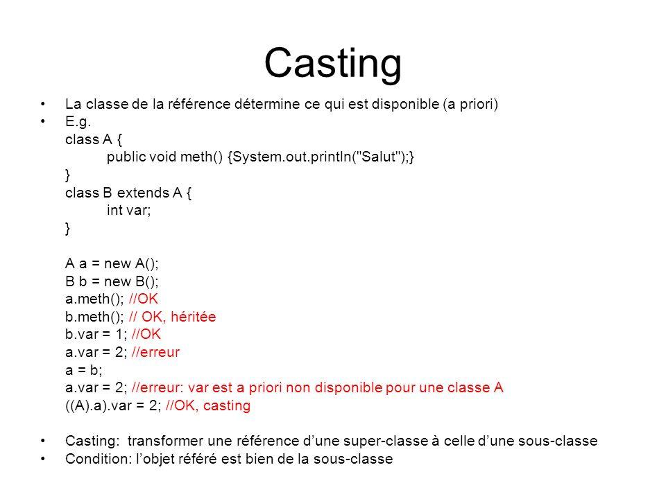 Casting La classe de la référence détermine ce qui est disponible (a priori) E.g. class A { public void meth() {System.out.println( Salut );}