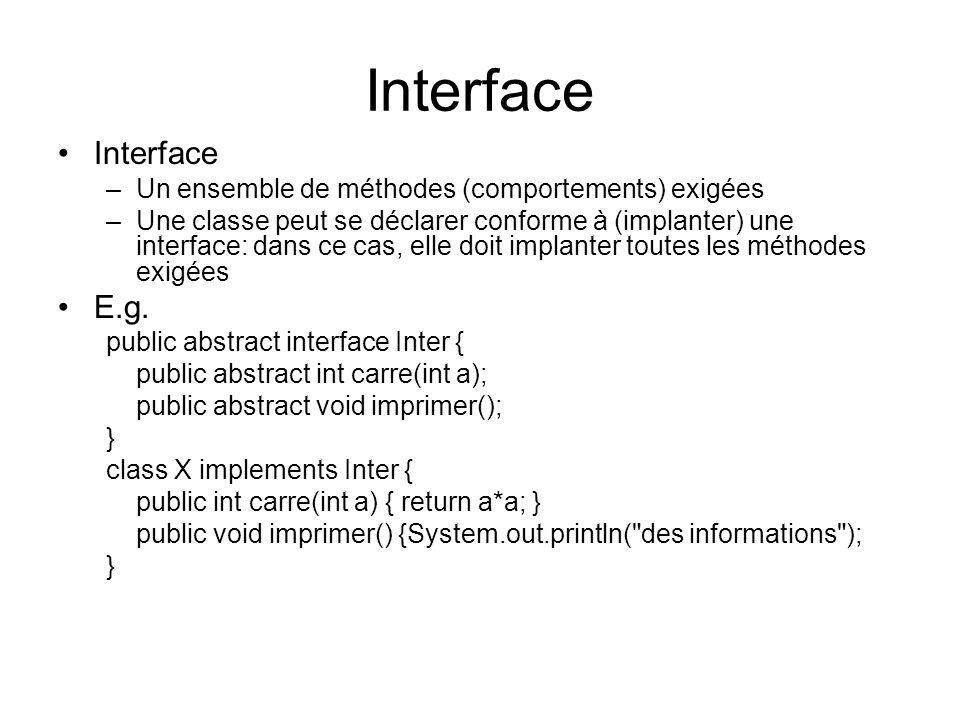 Interface Interface E.g.