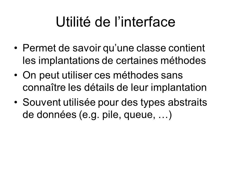 Utilité de l'interface