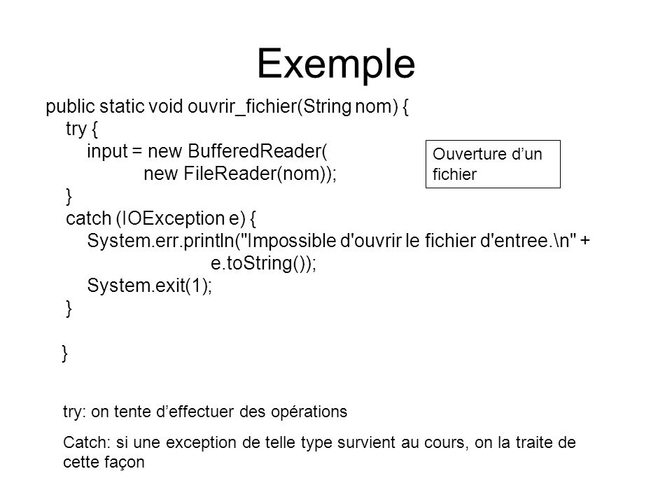 Exemple public static void ouvrir_fichier(String nom) { try {
