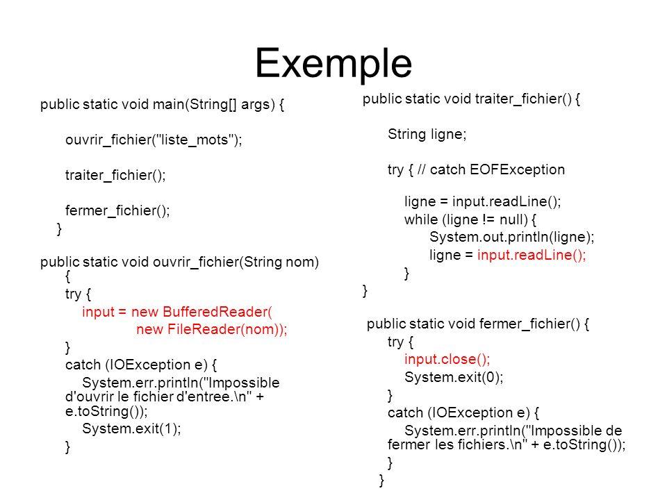 Exemple public static void traiter_fichier() {