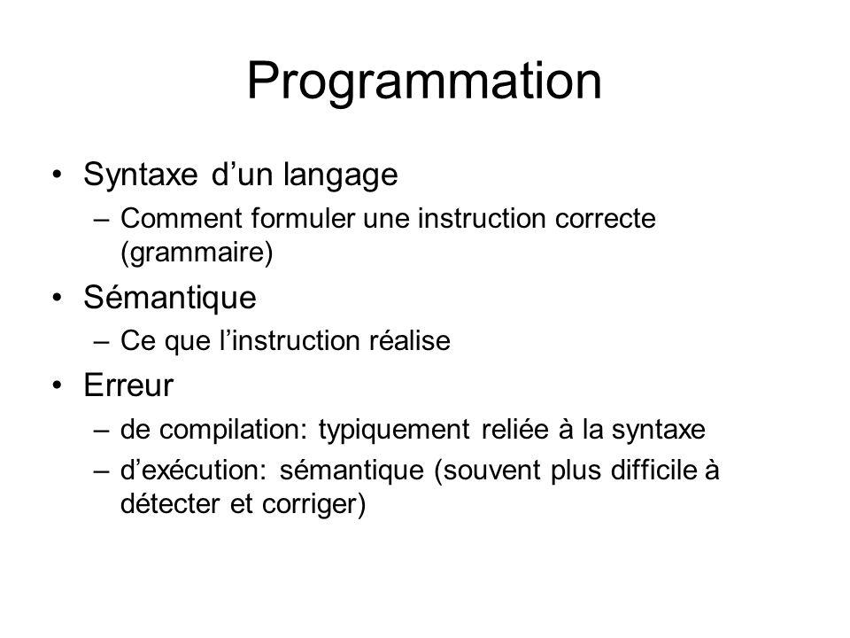Programmation Syntaxe d'un langage Sémantique Erreur