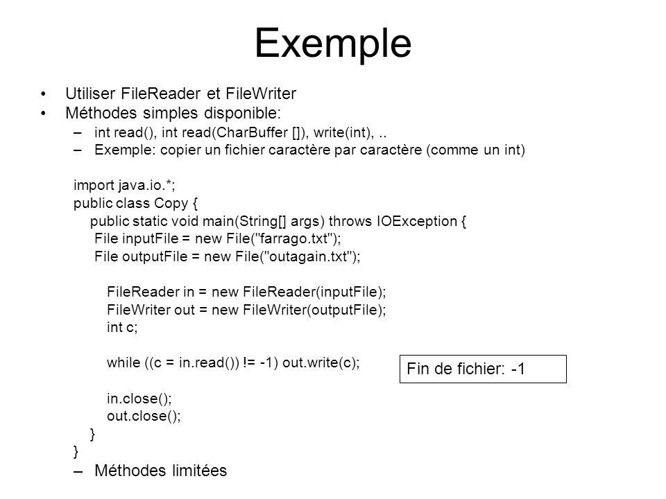 Exemple Utiliser FileReader et FileWriter Méthodes simples disponible: