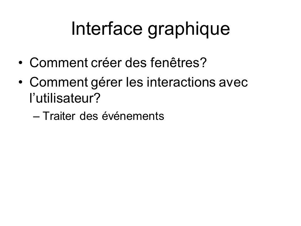 Interface graphique Comment créer des fenêtres