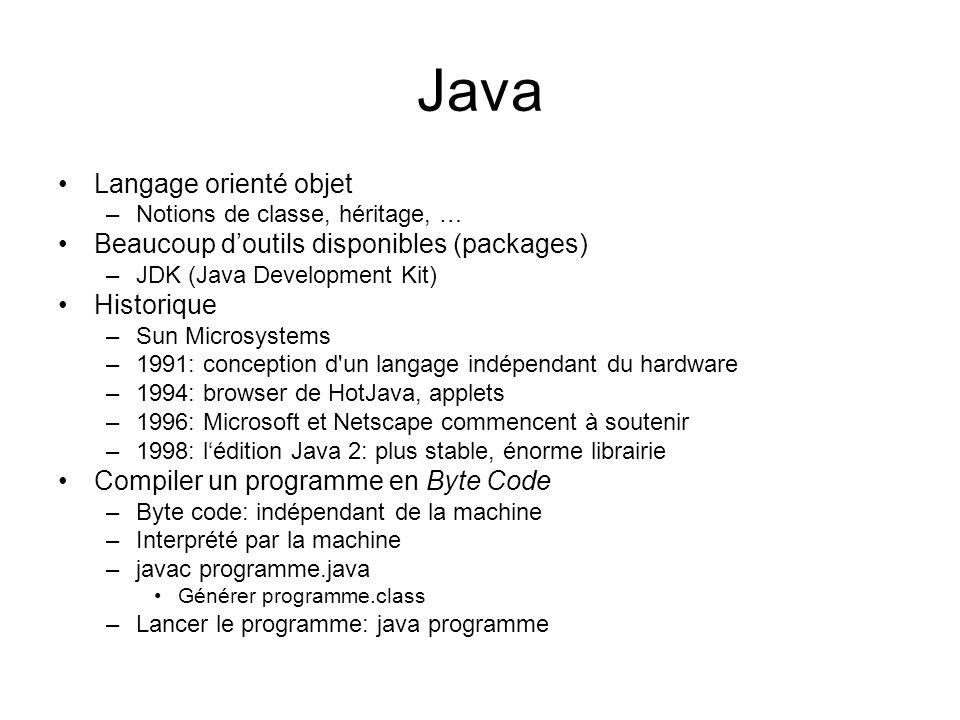 Java Langage orienté objet Beaucoup d'outils disponibles (packages)