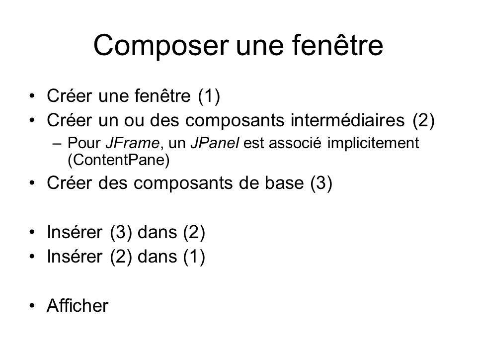 Composer une fenêtre Créer une fenêtre (1)