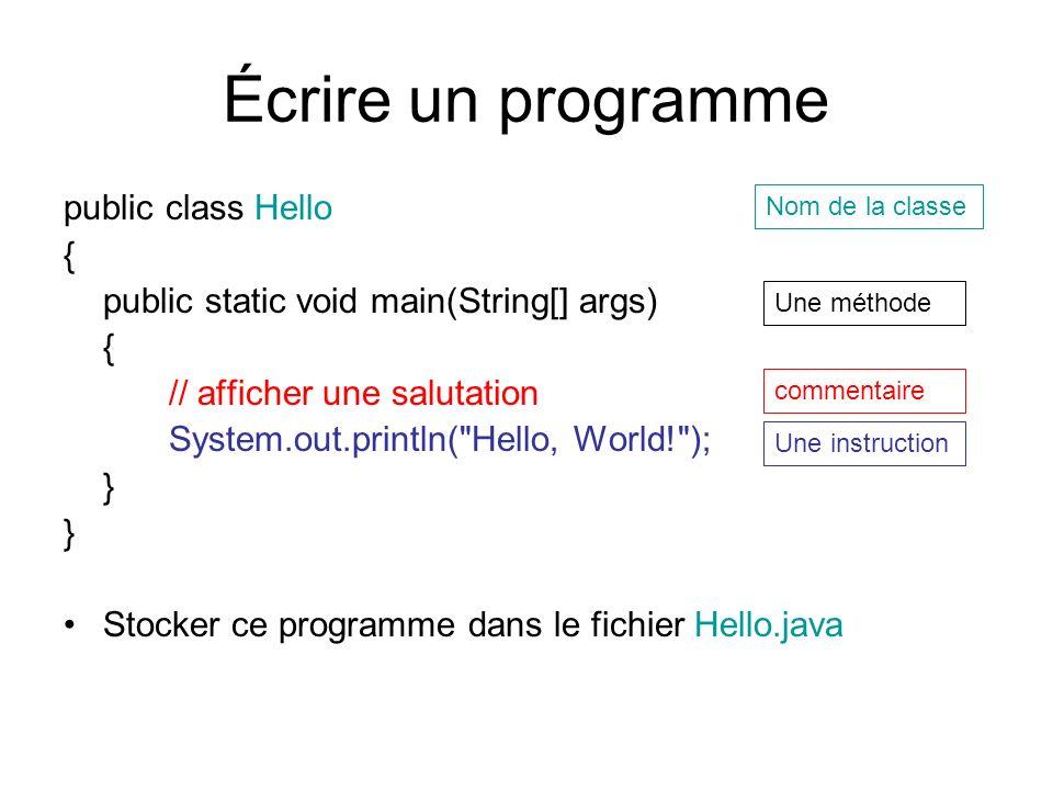 Écrire un programme public class Hello {