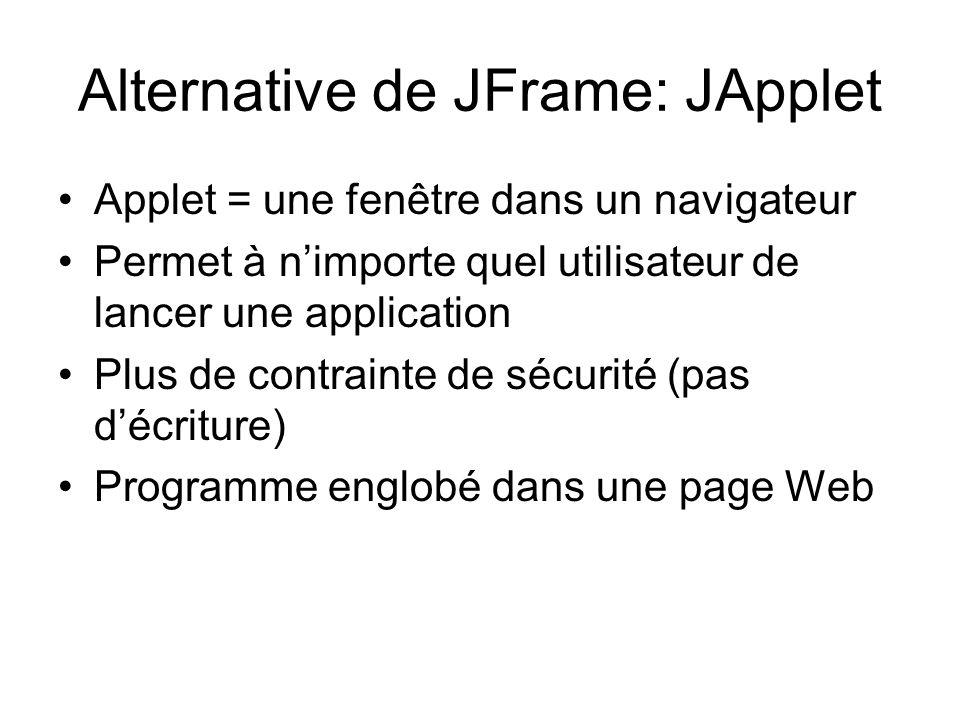 Alternative de JFrame: JApplet