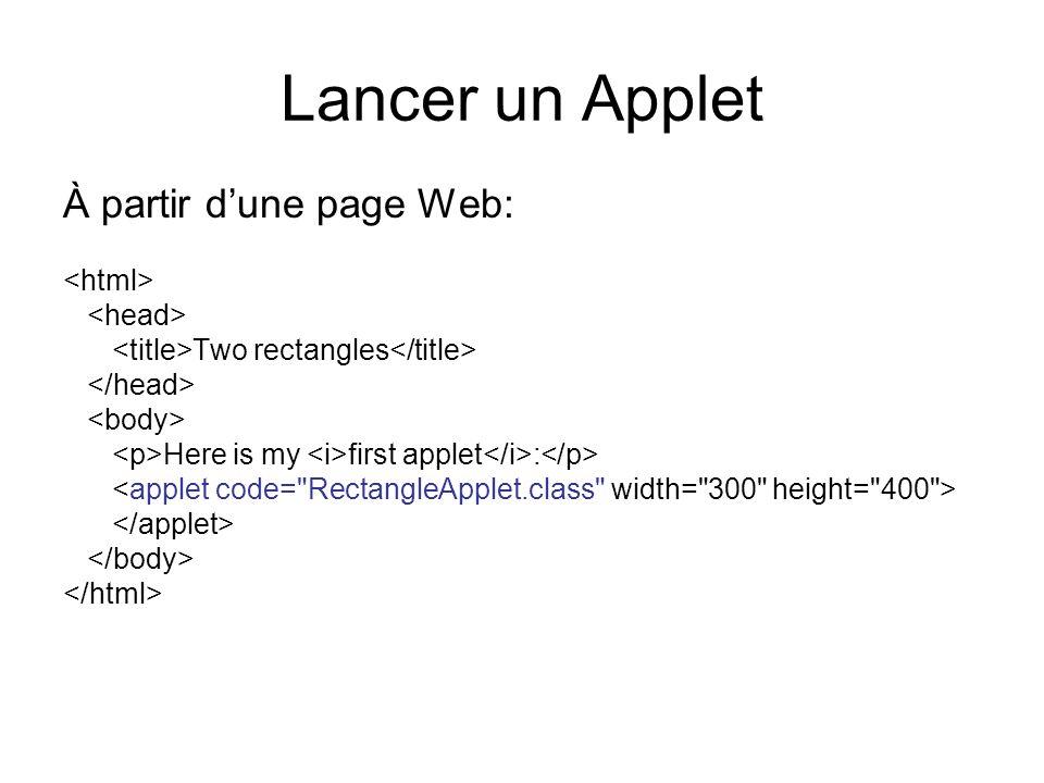 Lancer un Applet À partir d'une page Web: <html> <head>