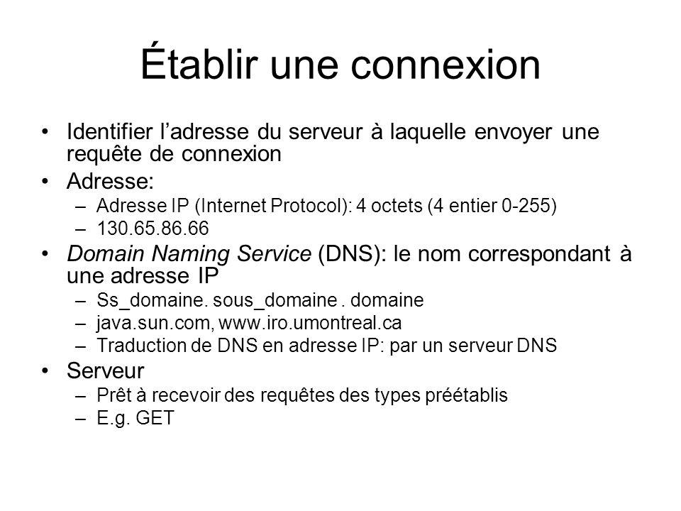 Établir une connexion Identifier l'adresse du serveur à laquelle envoyer une requête de connexion. Adresse: