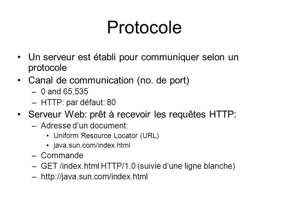 Protocole Un serveur est établi pour communiquer selon un protocole