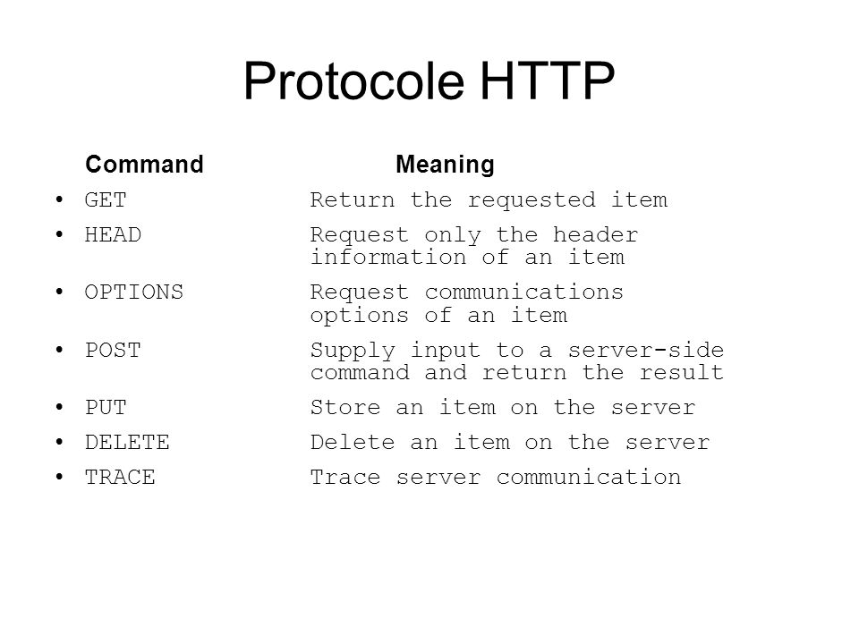 Protocole HTTP Command Meaning GET Return the requested item