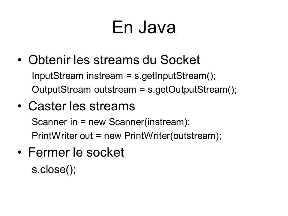 En Java Obtenir les streams du Socket Caster les streams