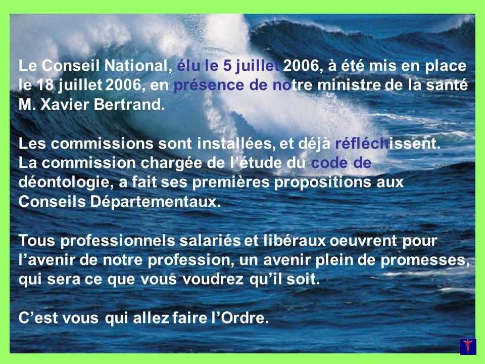Le Conseil National, élu le 5 juillet 2006, à été mis en place le 18 juillet 2006, en présence de notre ministre de la santé M. Xavier Bertrand.