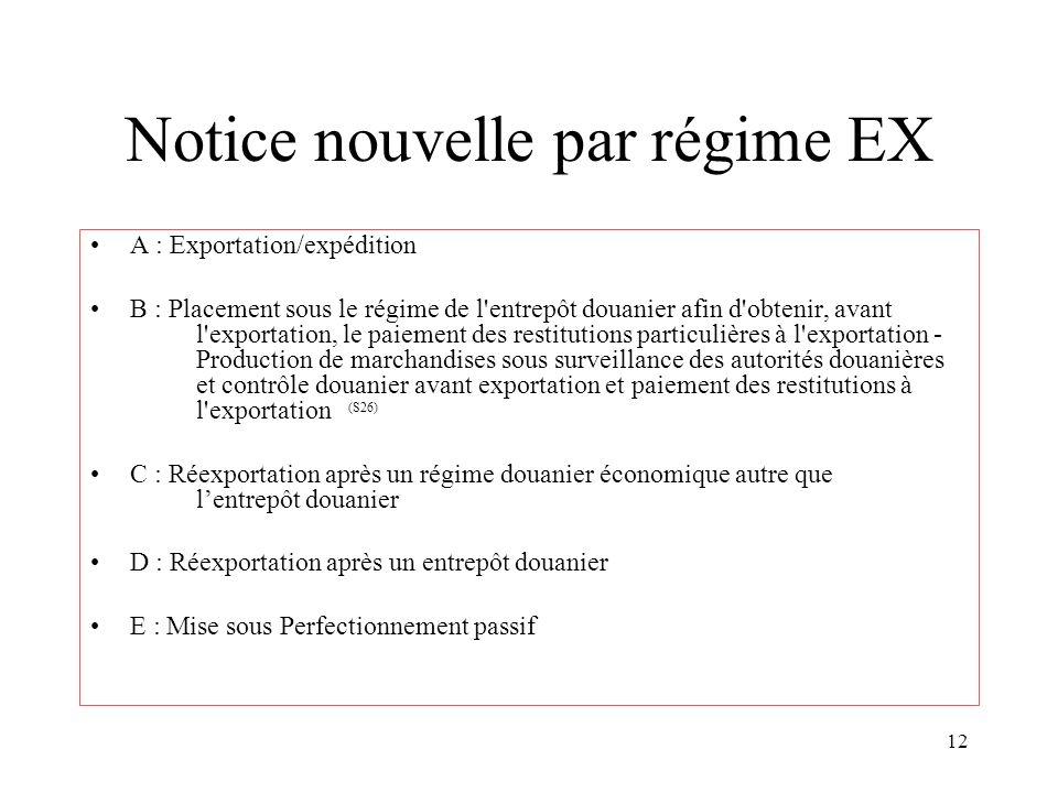 Notice nouvelle par régime EX