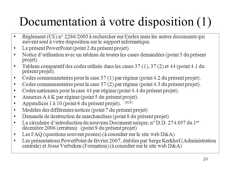 Documentation à votre disposition (1)