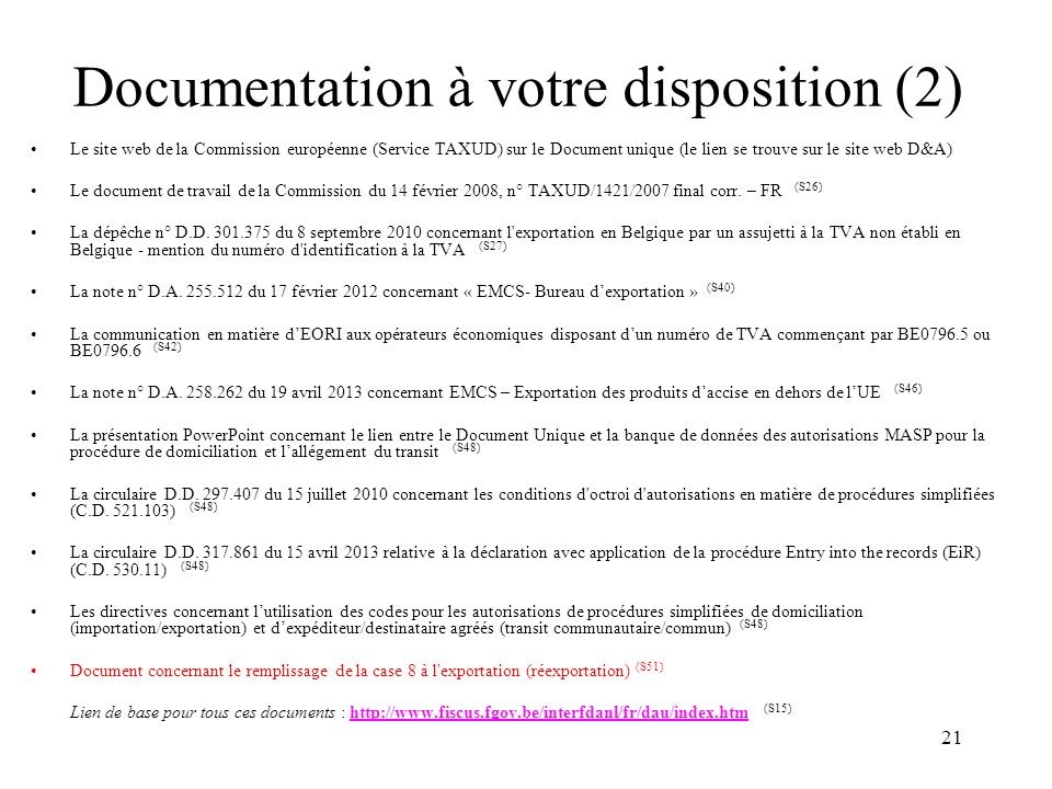 Documentation à votre disposition (2)