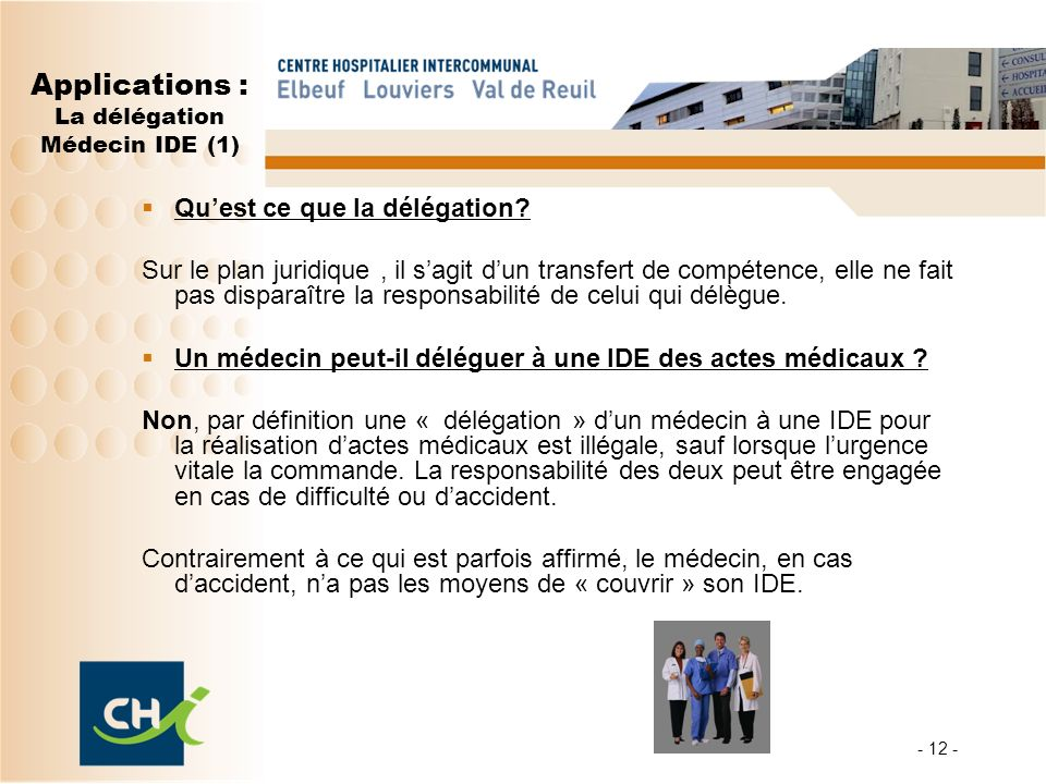 Applications : La délégation Médecin IDE (1)