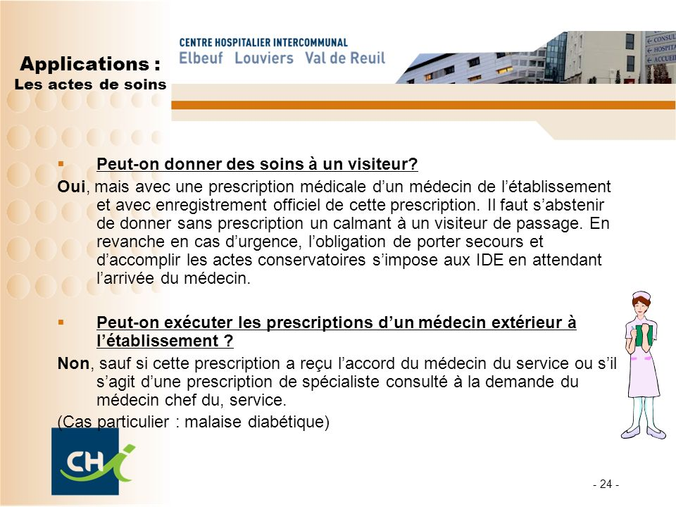 Applications : Les actes de soins
