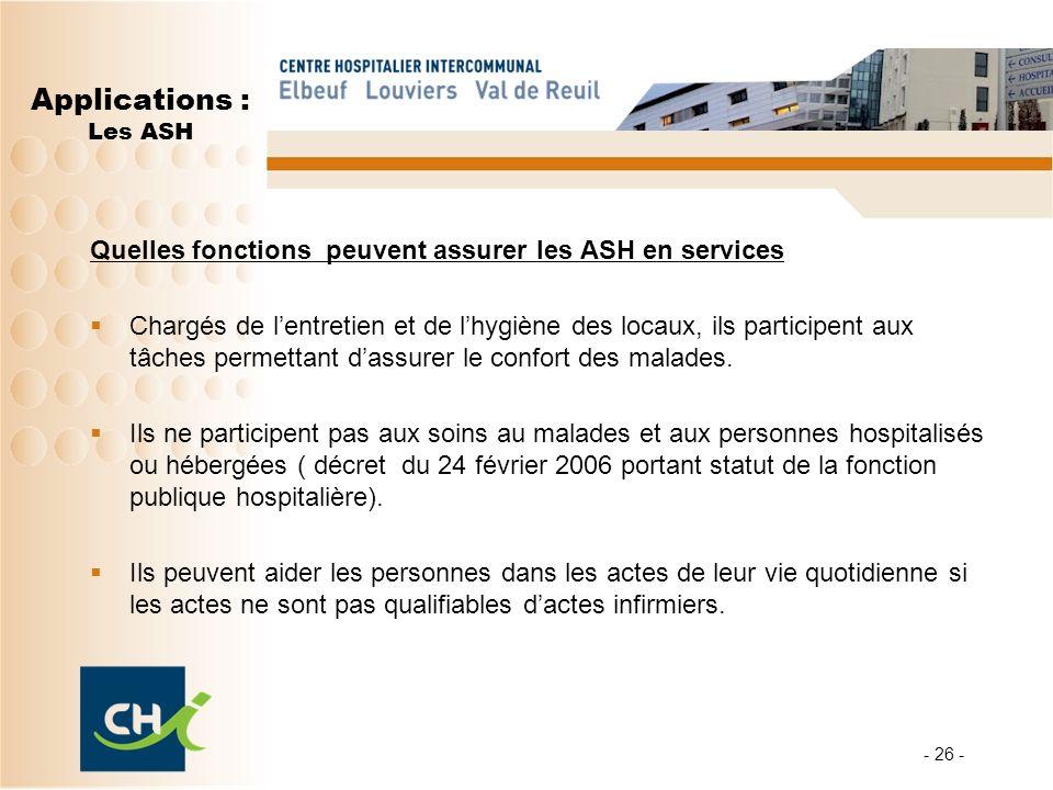 Applications : Les ASH Quelles fonctions peuvent assurer les ASH en services.