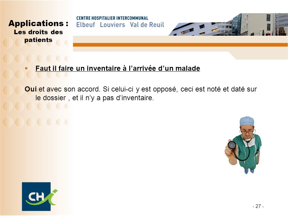 Applications : Les droits des patients