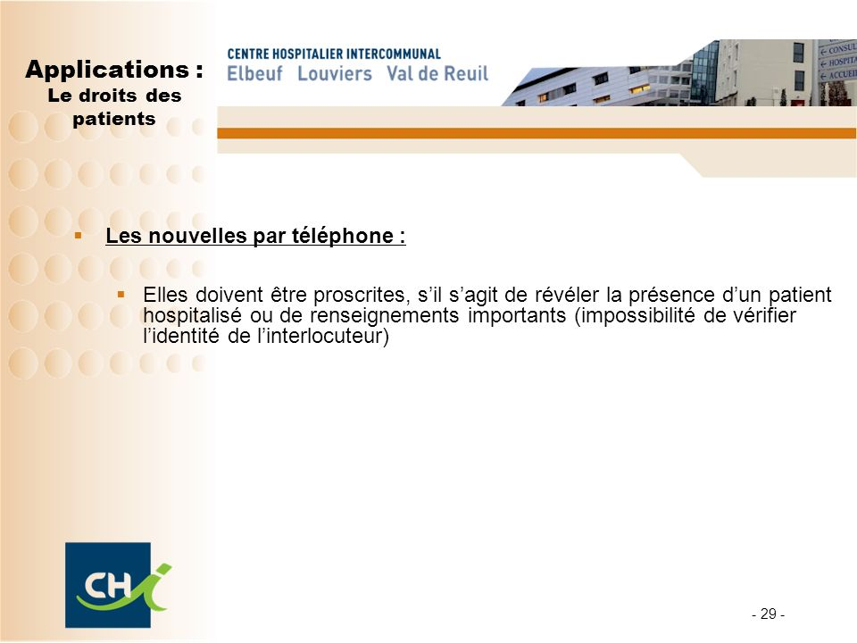 Applications : Le droits des patients