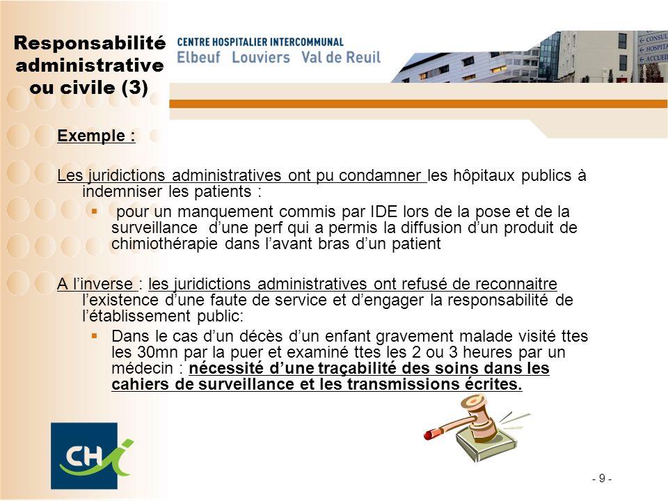 Responsabilité administrative ou civile (3)