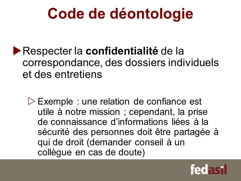 Code de déontologie Respecter la confidentialité de la correspondance, des dossiers individuels et des entretiens.