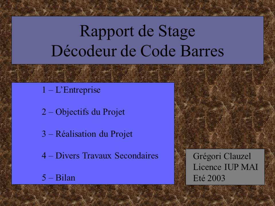 Rapport de Stage Décodeur de Code Barres