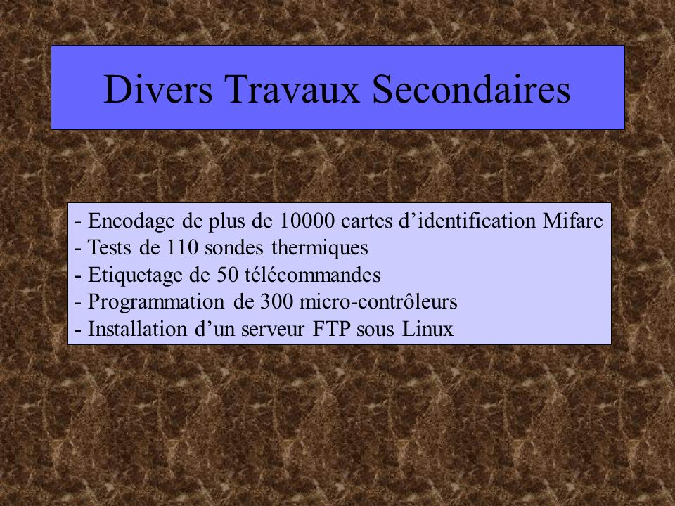 Divers Travaux Secondaires