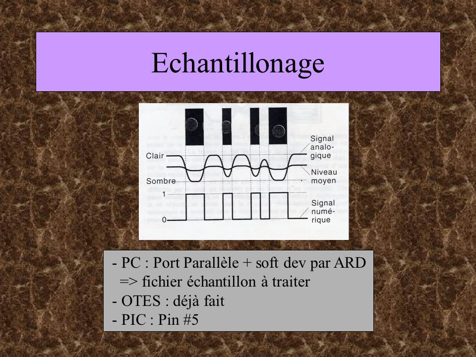 Echantillonage - PC : Port Parallèle + soft dev par ARD