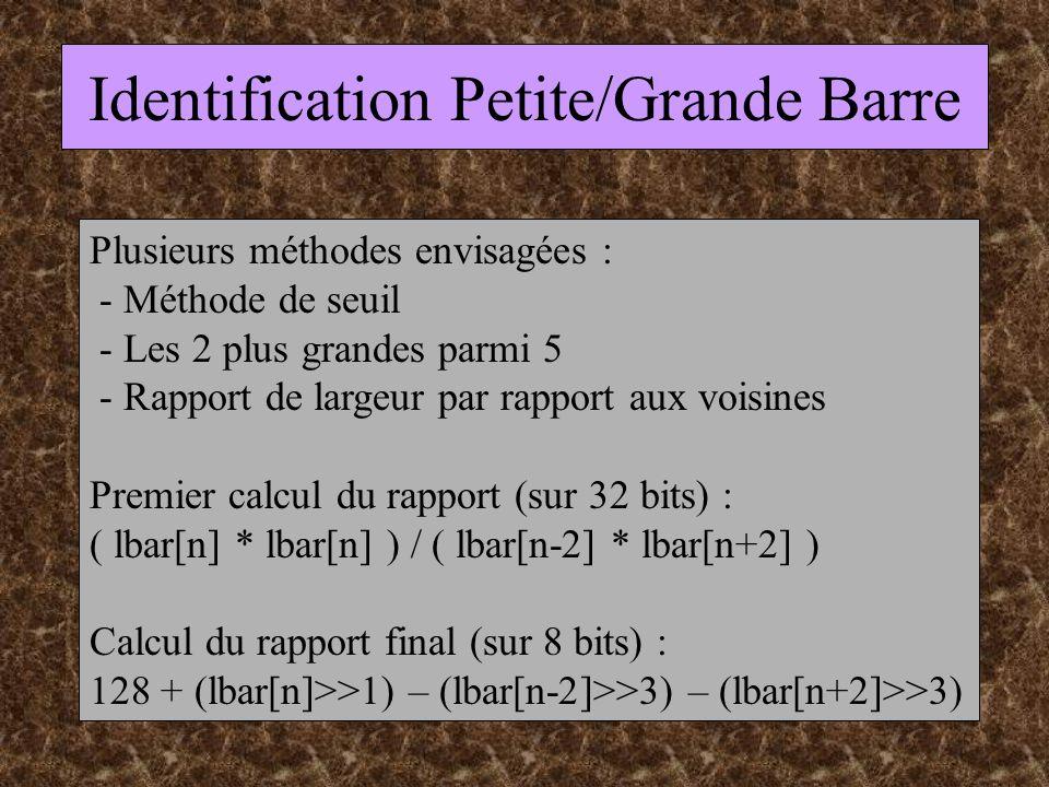 Identification Petite/Grande Barre