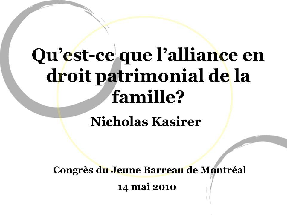Qu'est-ce que l'alliance en droit patrimonial de la famille
